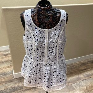 Madison Marcus Eyelet Peplum Top lined in Silk